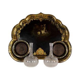 Victorian Black Painted & Gilt Papier-Mâché Tray & Two Crystal Decanters; English, Circa 1850