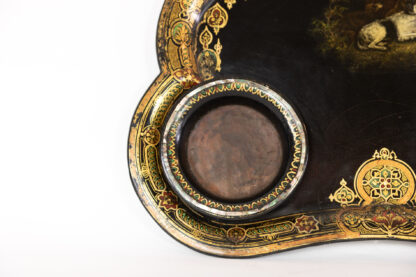 Detail, Decanter Holder of Victorian Black Painted & Gilt Papier-Mâché Tray & Two Crystal Decanters; English, Circa 1850