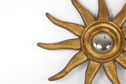 Mid-Century French Carved Giltwood Sunburst Mirror Frame With Convex Mirror, Circa 1950