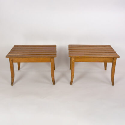 Pair Of Light Colored Fruitwood Slatted Luggage Racks With Saber Legs, English, Circa 1900