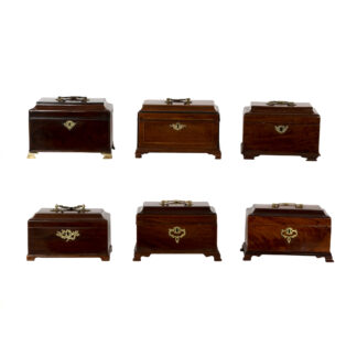 A Collection Of Six Solid Mahogany George III Tea Caddies & Boxes, Circa 1760-1815.