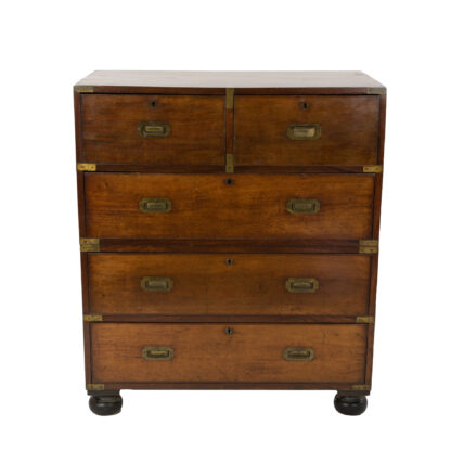 Mahogany Campaign Chest On Chest; Top Right Drawer Is A Drop Down Secretaire, English Circa 1860.
