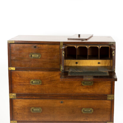 Handsome Mahogany Campaign Chest On Chest; Top Right Drawer Is A Drop Down Secretaire, English Circa 1860.