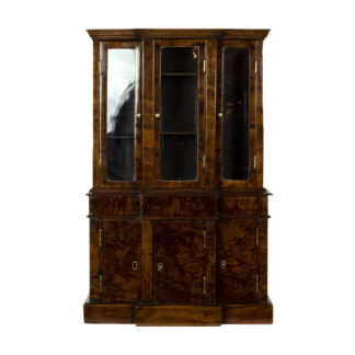 Rare Miniature George III Breakfront Glass Cabinet of Walnut & Burr Walnut; Welsh or English Circa 1780-1800