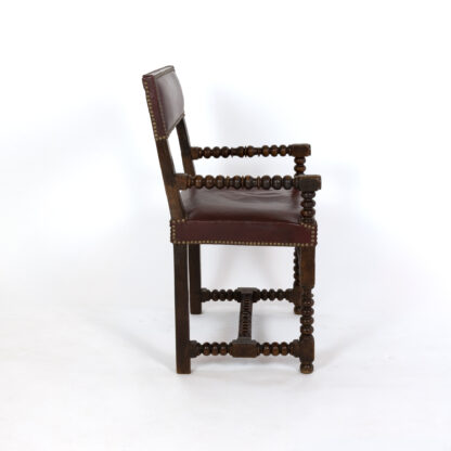 Bobbin Turned Walnut Armchair In Red Leather With Nailhead Trim, Circa 1800 Garden Court Antiques San Francisco