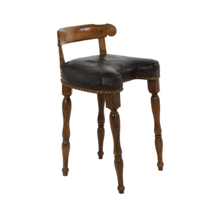 Provincial Carved Walnut Upholstered Birthing Chair With Turned Legs; French, Circa 1860.