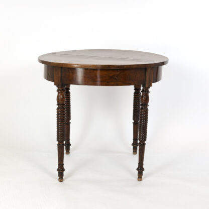 French Provincial Round Walnut Center Table with Bobbin Turned Legs; Circa 1860.