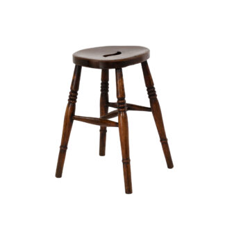 Vintage Pub Stool: Oval Top Fruitwood Work Stool; English, Circa 1890.
