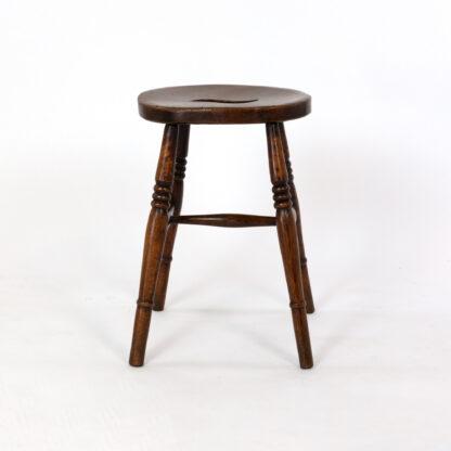 Vintage Pub Stool: Oval Top Fruitwood Work Stool; English, Circa 1890.
