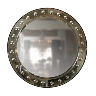 French Art Deco Round Mirror with Mirror Frame, Circa 1920.