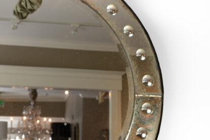 French Art Deco Round Mirror with Mirror Frame, Circa 1920.