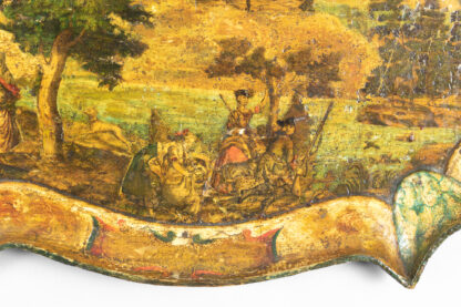Vividly Painted Papier Mâché Tray with Pastoral Hunting Scene, French Circa 1840.