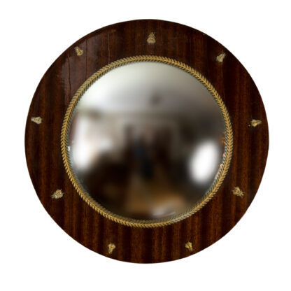 Tiger Mahogany Convex Butler's Mirror With Brass Acanthus Leaf Slip And Brass Bee Motifs All Around, French Circa 1890