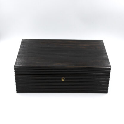 Anglo Indian Coromandel Ebony Work Box Of Solid Ribbed Design With Fully Fitted Interior; Anglo-Indian, Circa 1860-1880.