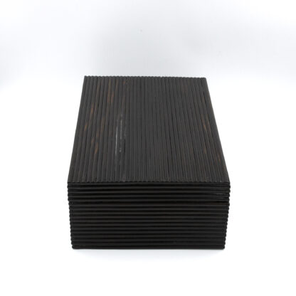 Side view: Anglo Indian Coromandel Ebony Work Box Of Solid Ribbed Design With Fully Fitted Interior; Anglo-Indian, Circa 1860-1880.