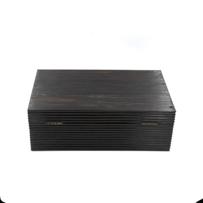 Back view: Anglo Indian Coromandel Ebony Work Box Of Solid Ribbed Design With Fully Fitted Interior; Anglo-Indian, Circa 1860-1880.