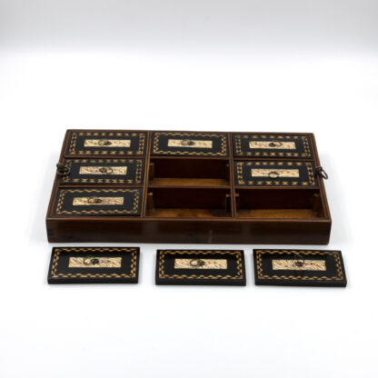 Trays, compartments of Anglo Indian Coromandel Ebony Work Box Of Solid Ribbed Design With Fully Fitted Interior; Anglo-Indian, Circa 1860-1880.