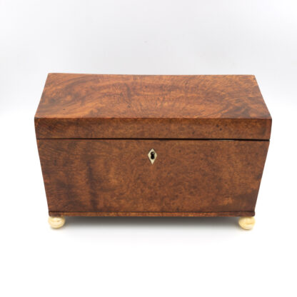 Font: A Large Trapeze Form Box In Burlwood Yew & Lined With Paper; English, Circa 1820.