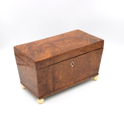 Angled: A Large Trapeze Form Box In Burlwood Yew & Lined With Paper; English, Circa 1820.