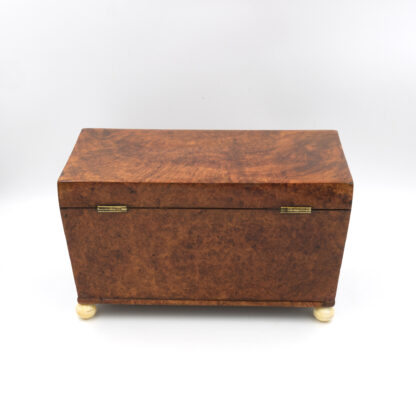 Back: A Large Trapeze Form Box In Burlwood Yew & Lined With Paper; English, Circa 1820.
