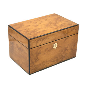 Choice Birds Eye Maple Box With Ebony Edging; English, Circa 1830-1850.