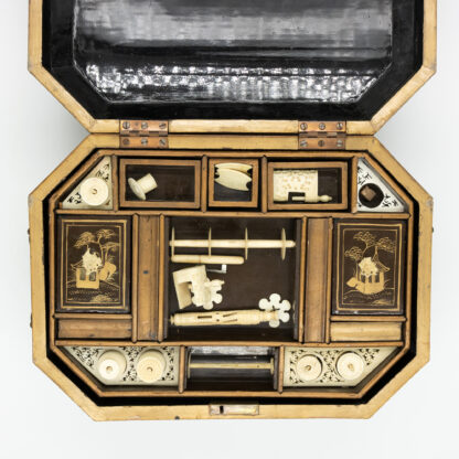 Chinese Export Lacquer Painted Sewing Box With Fully Fitted Interior; China, Circa 1850. Made For The English Market