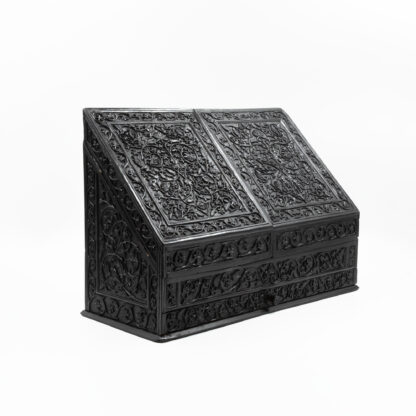 Impressive And Intricately Carved Solid Ebony Anglo-Indian Stationery Box, Circa 1850