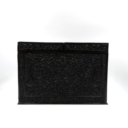 Back view: Impressive And Intricately Carved Solid Ebony Anglo-Indian Stationery Box, Circa 1850
