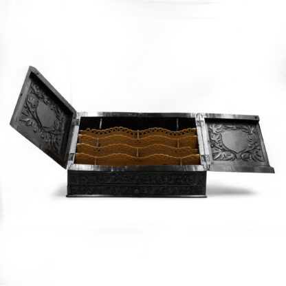 Opened: Impressive And Intricately Carved Solid Ebony Anglo-Indian Stationery Box, Circa 1850