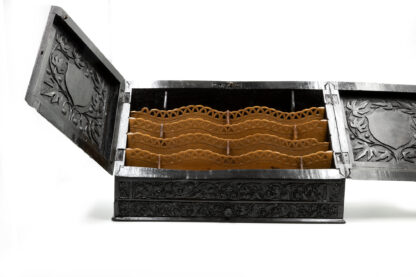 Interior of Impressive And Intricately Carved Solid Ebony Anglo-Indian Stationery Box, Circa 1850