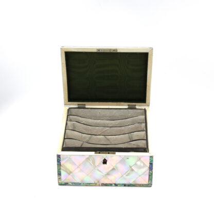 Opened: Mother Of Pearl Slant Top Stationary Box; English, Circa 1880.