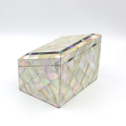 Back: Mother Of Pearl Slant Top Stationary Box; English, Circa 1880.