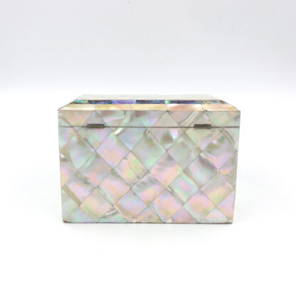 Backside of Mother Of Pearl Slant Top Stationary Box; English, Circa 1880.