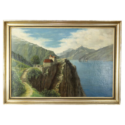 "Oil On Canvas Painting Of A River Scene In Northern Italy, Signed ""A. Toscani 1928""."