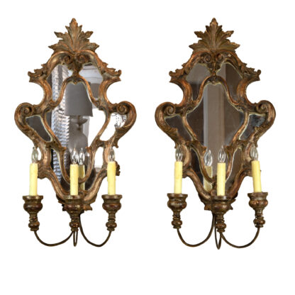 Pair of Italian Painted & Parcel Gilt, Carved Wood Girandole Mirrors, Circa 1820; Now Electrified.