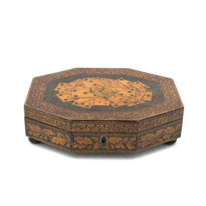 Penwork Games Box Decorated With Assorted Playing Cards On The Lid, English Circa 1840-50