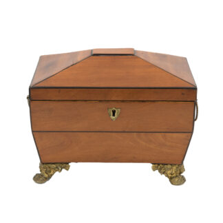 Satinwood Tent Top Tea Caddy With Two Interior Compartments; English, Circa 1840.