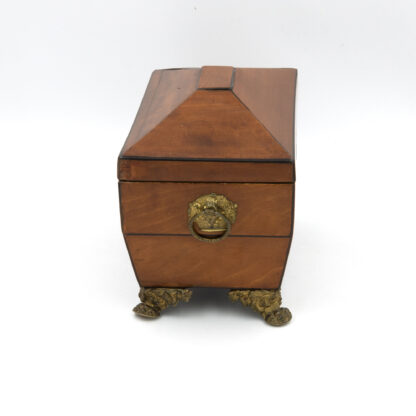 Side View: Satinwood Tent Top Tea Caddy With Two Interior Compartments; English, Circa 1840.