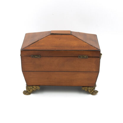 Back view: Satinwood Tent Top Tea Caddy With Two Interior Compartments; English, Circa 1840.