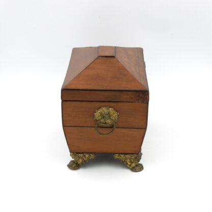 Side view brass handles: Satinwood Tent Top Tea Caddy With Two Interior Compartments; English, Circa 1840.