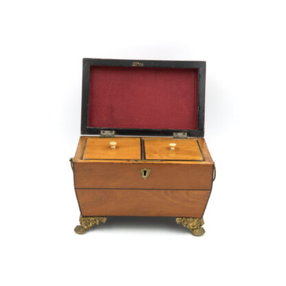 Opened: Satinwood Tent Top Tea Caddy With Two Interior Compartments; English, Circa 1840.