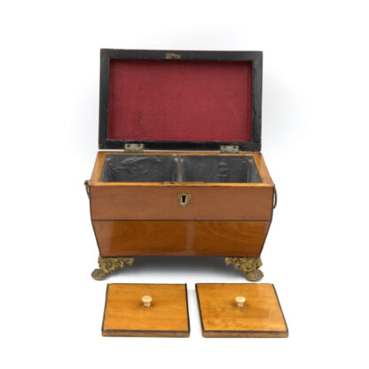 opened with lids: Satinwood Tent Top Tea Caddy With Two Interior Compartments; English, Circa 1840.