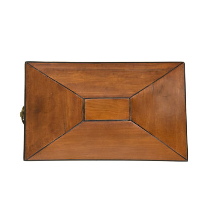 tent top view: Satinwood Tent Top Tea Caddy With Two Interior Compartments; English, Circa 1840.