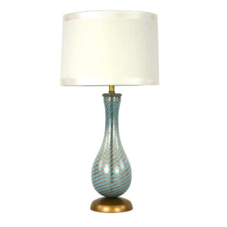 Italian Mid-Century Blue And Gold Swirled Glass Lamp, Circa 1950.