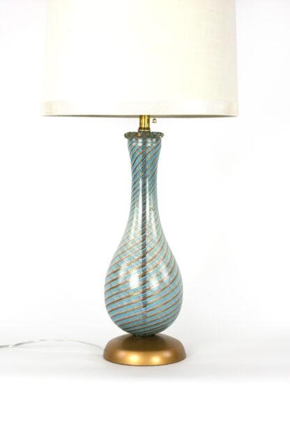 Italian Mid-Century Blue And Gold Swirled Glass Lamp, Circa 1950.