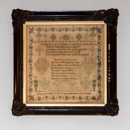 Sampler by Margaret C. Walby, Dated 1824 in Black Frame, Mrs. L.R. Maas, English, Circa 1824.