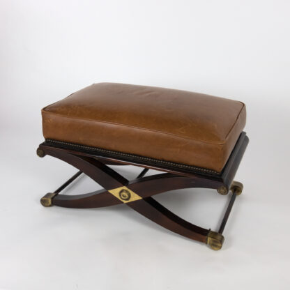 Spanish Savonarola Style Bench With Brown Leather Top, Over An X-Form Base, 20th Century.