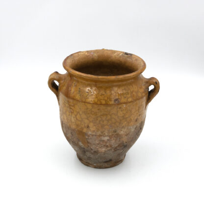 Antique French Confit Pot with Yellow / Orange Glaze, Circa 1880. (7 in.)