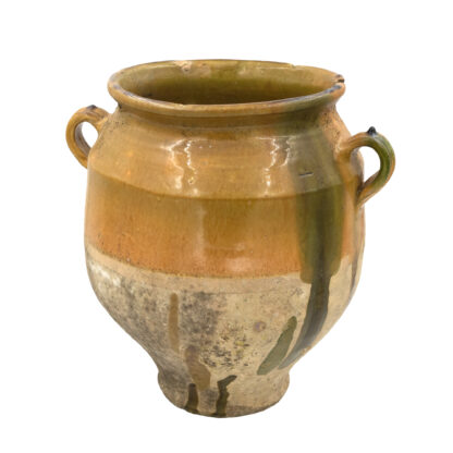 Large French Confit Pot in Yellow & Green Glaze, Circa 1880. (12 in.)