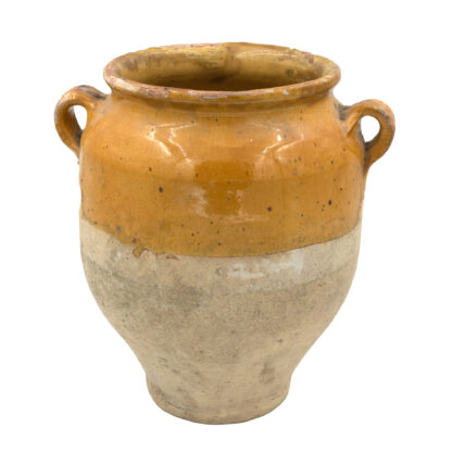 Mustard Yellow Glazed Antique French Confit Pot, Circa 1880. (11 in.)
